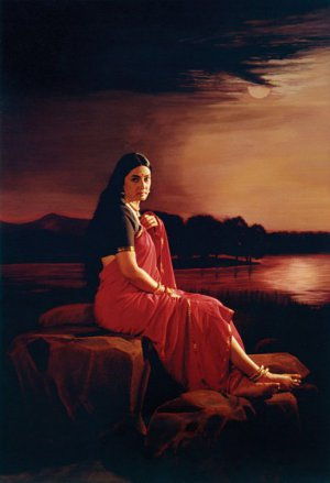 Lady in Moonlight (after 1889 oil painting by Raja Ravi Varma)
